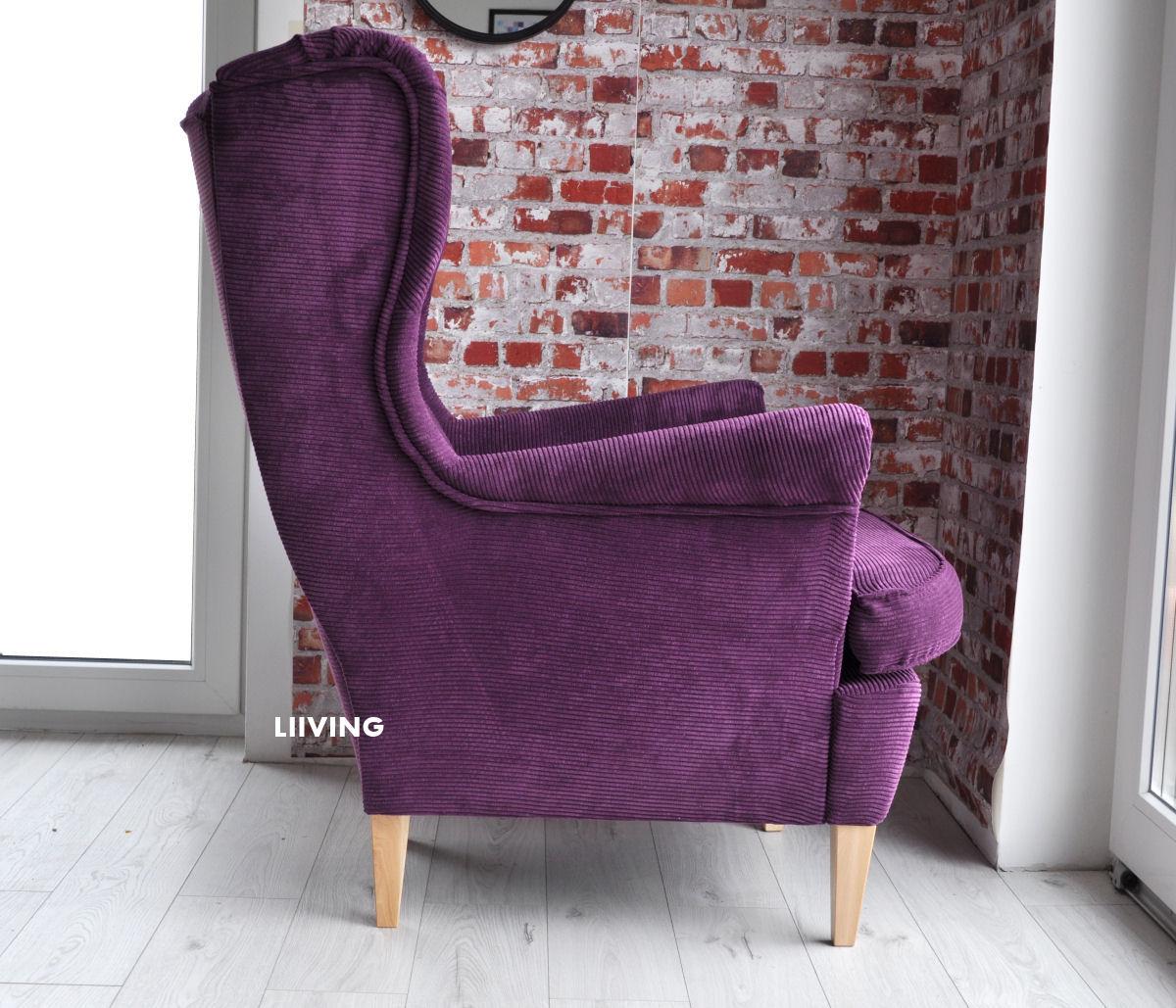 fioletowy uszak fotel