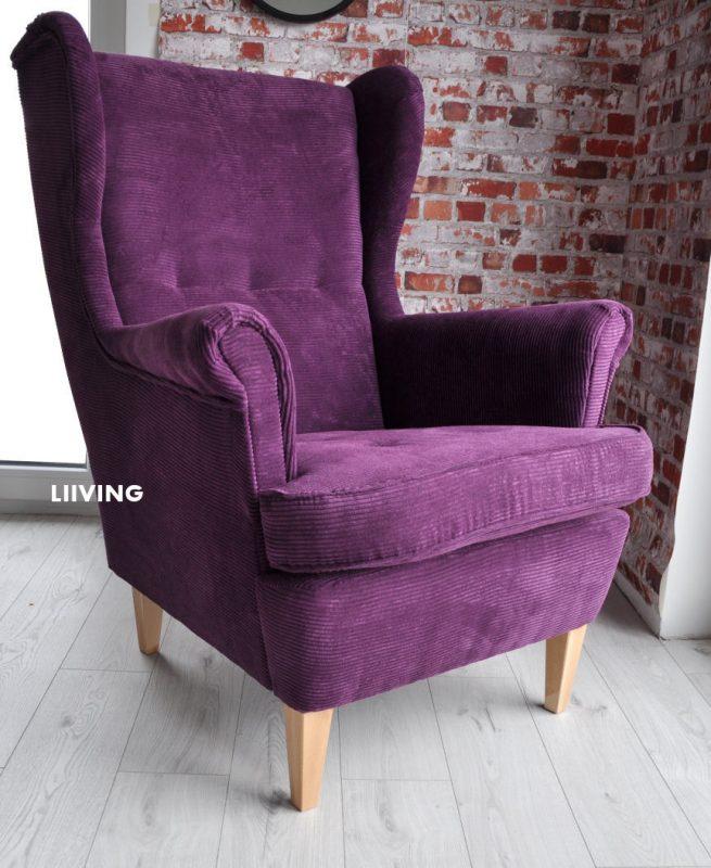 fioletowy fotel uszak