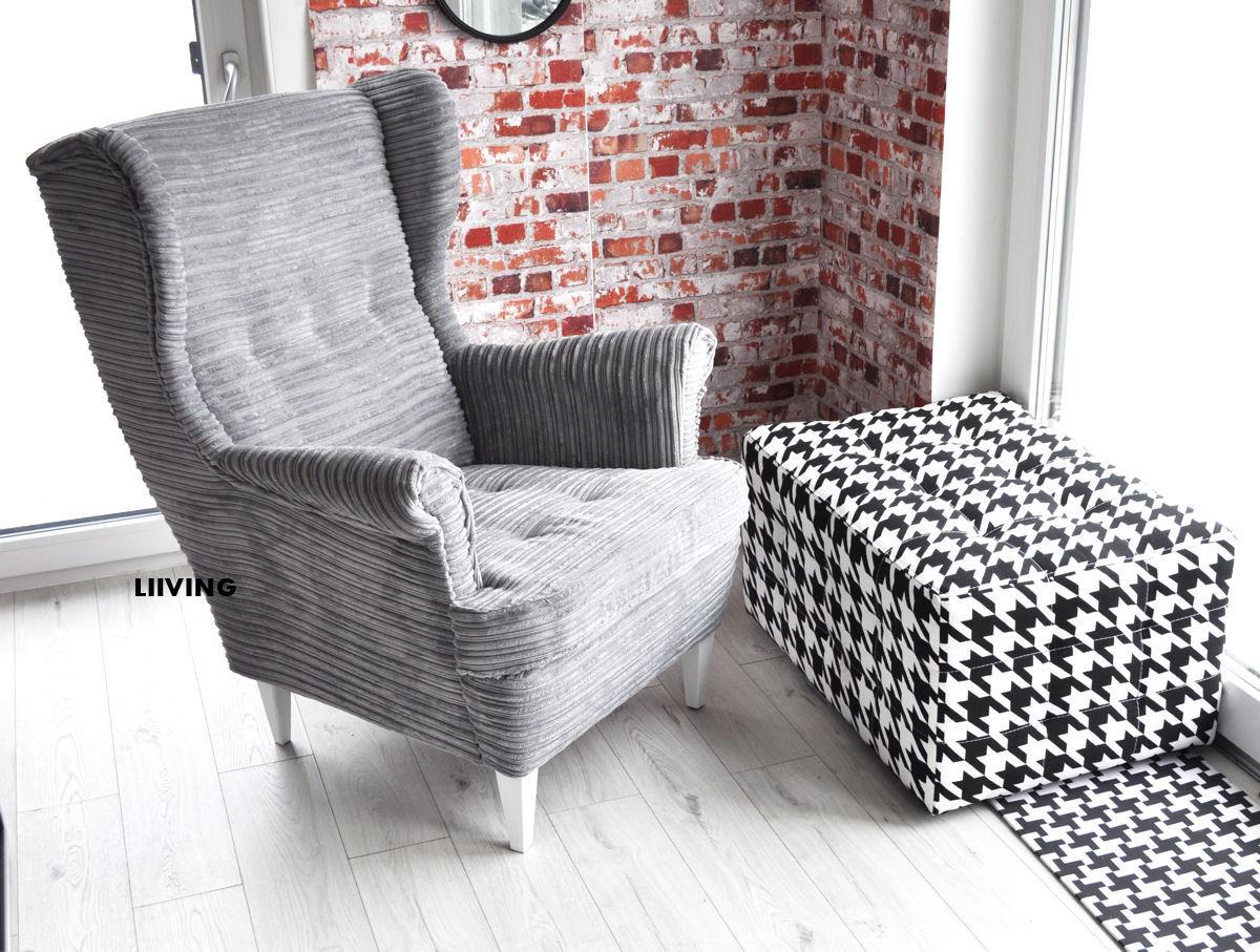 fotel uszak w tkaninie sztruks