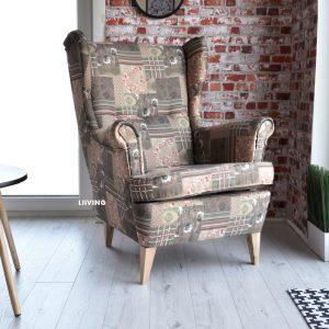 Fotel uszak w tkaninie paczwork
