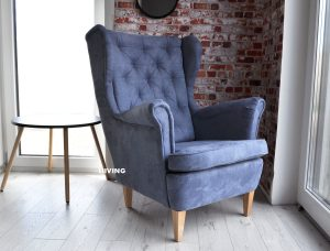 fotel w tkaninie cobalt alcantara