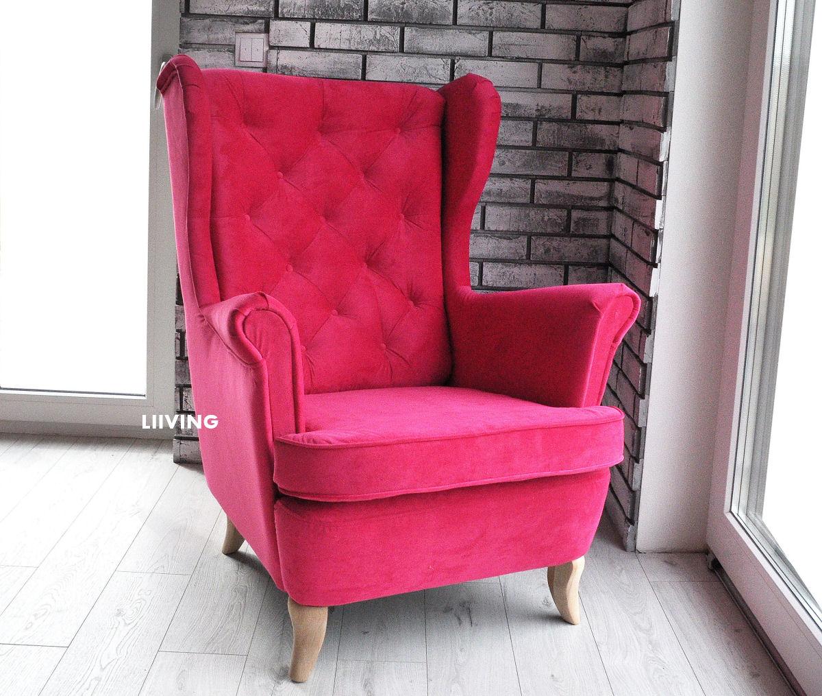 rozowy fotel