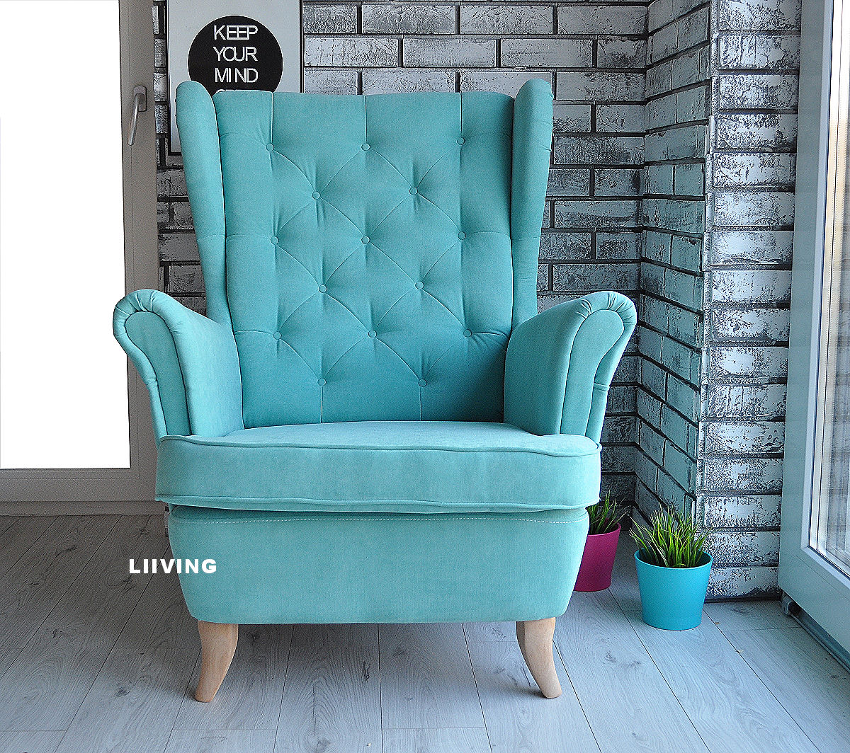 Fotel uszak w kolorze mięty