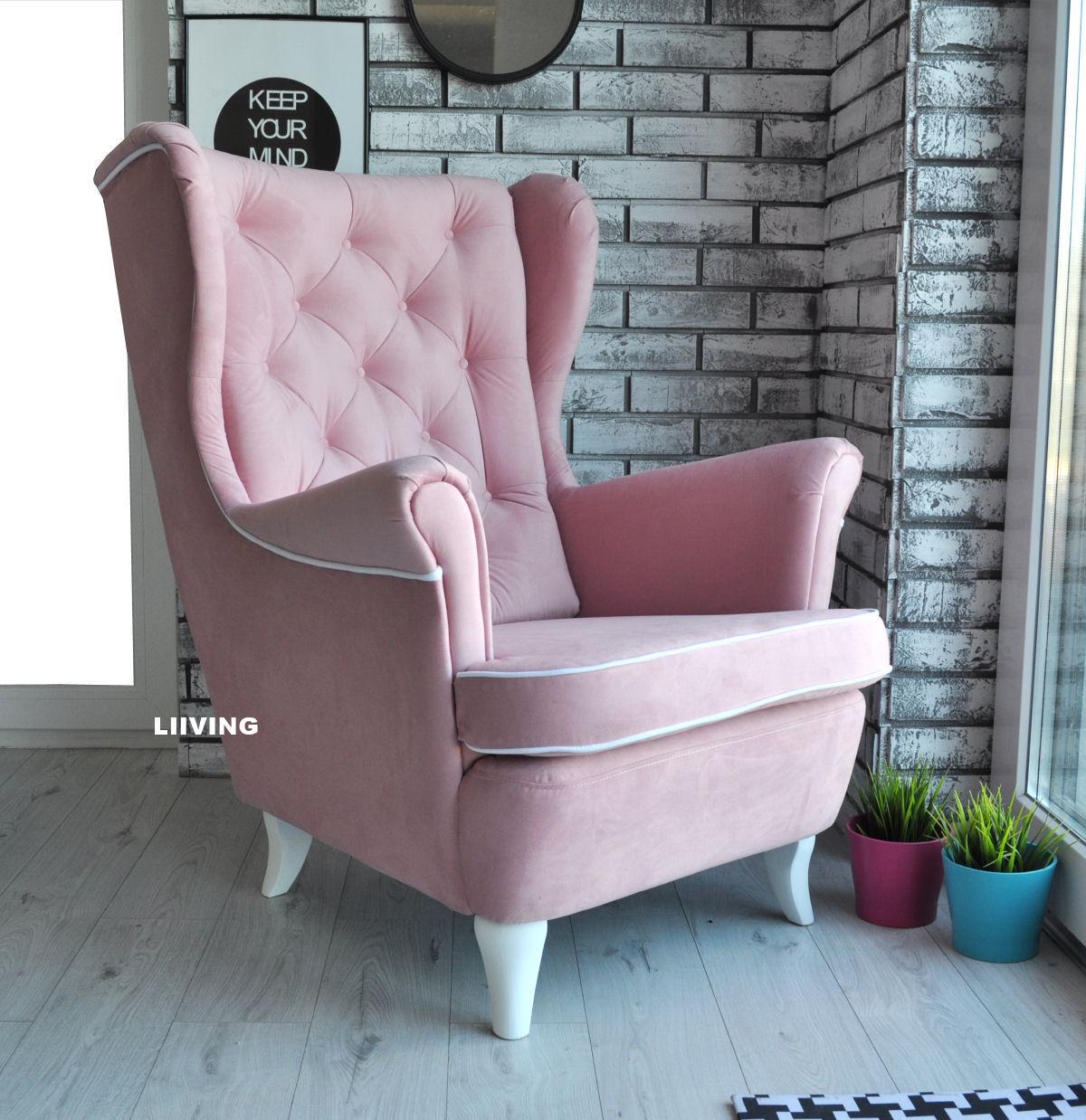 fotel uszak w tkaninie r lam wka bia a liiving sklep z. Black Bedroom Furniture Sets. Home Design Ideas