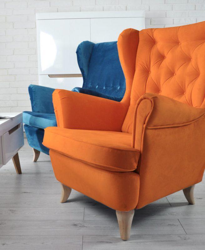 fotel uszak pomarańczowy