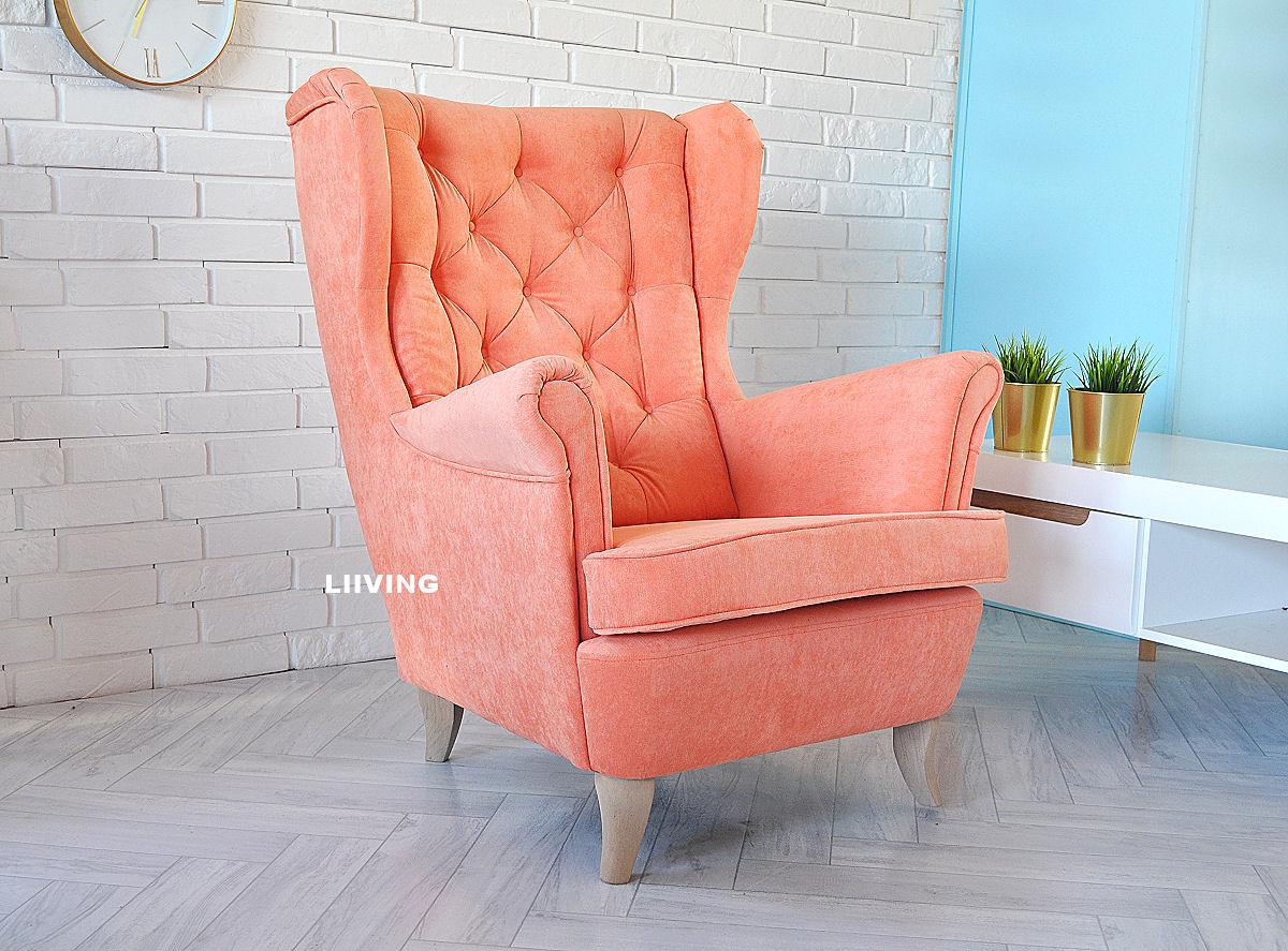 pomaranczowy fotel uszak