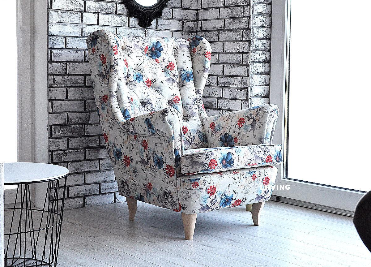 fotel uszak w kwiaty nederlandzkie