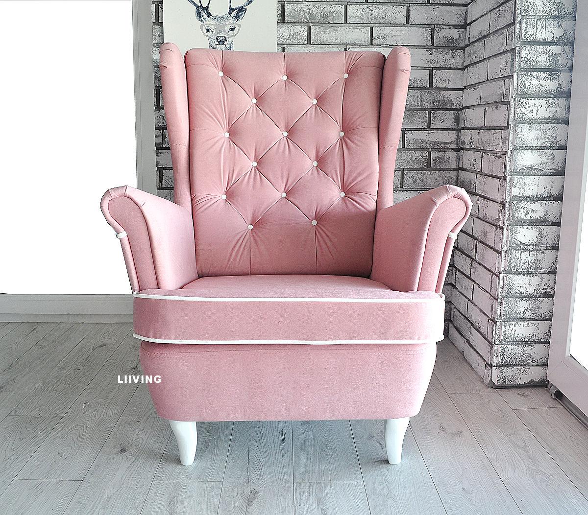 fotel uszak w jasnym różu