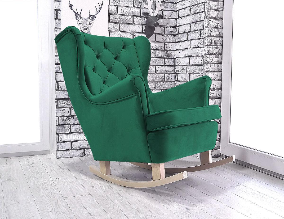 fotel w butelkowej zieleni