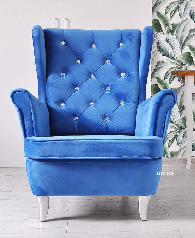 fotel uszak niebieski blue velvet