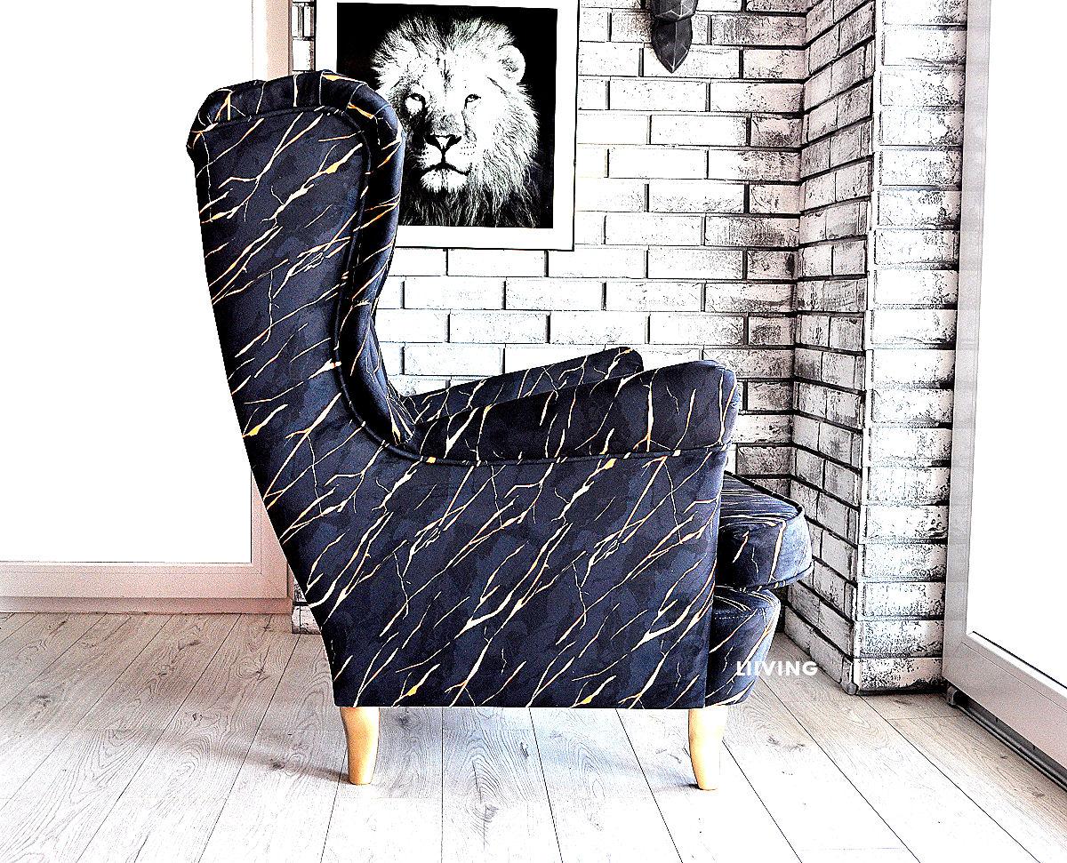fotel uszak w tkaninie marmur