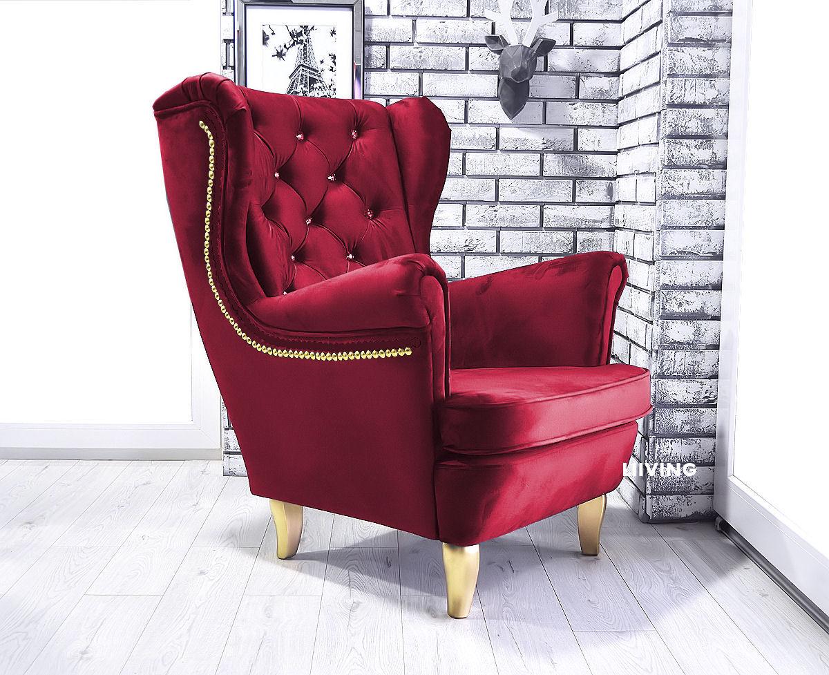 fotel w tkaninie monolith bordo