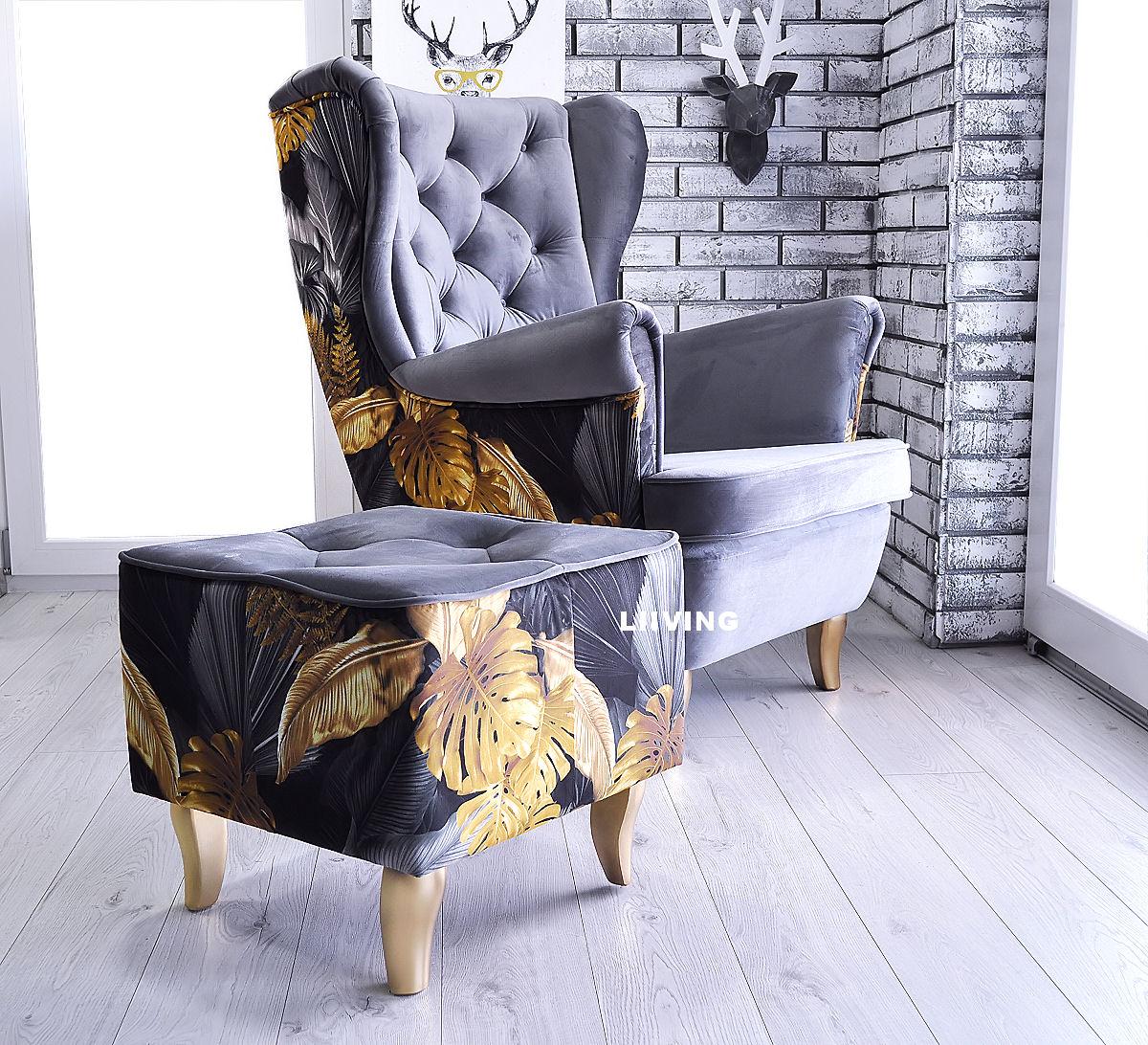 fotel w liście gold